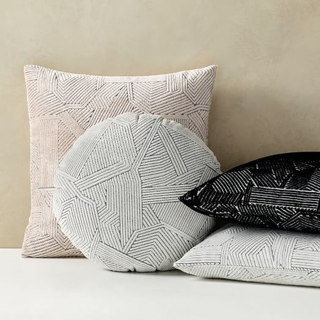 Linear Cut Velvet Cushion Cover