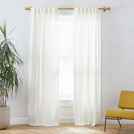 Linen Cotton Pole Pocket Curtain + Blackout Panel - White