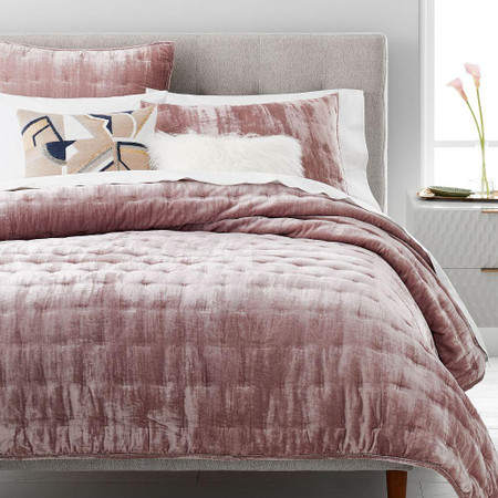 Lush Tack Stitch Bedspread & Pillowcases - Dusty Blush
