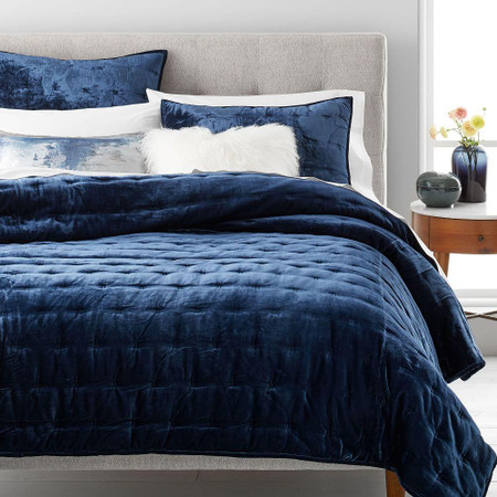 Lush Tack Stitch Bedspread & Pillowcases - Midnight
