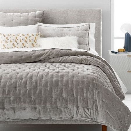 Lush Tack Stitch Bedspread & Pillowcases - Platinum