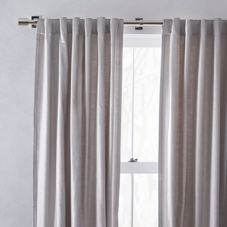 Cotton Lustre Velvet Curtain + Blackout Lining - Platinum