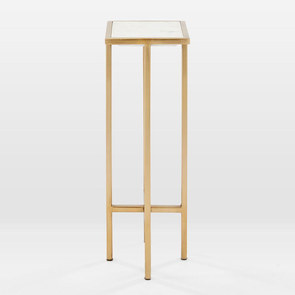 Marble & Brass Drink Table - Square