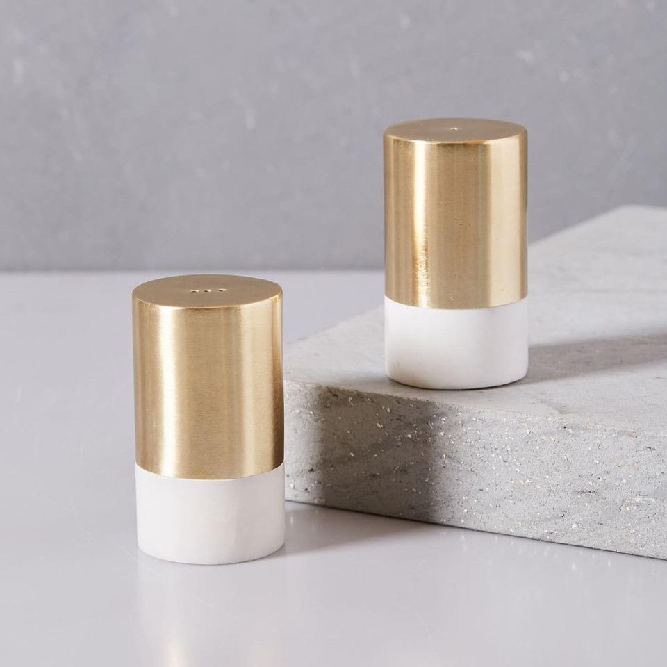 Marble & Brass Salt & Pepper Shaker Set