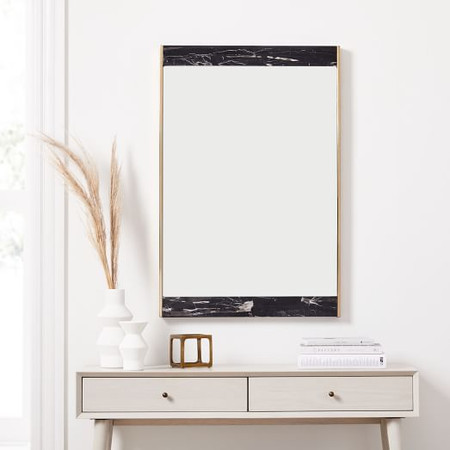 Marble & Brass Wall Mirror - Black