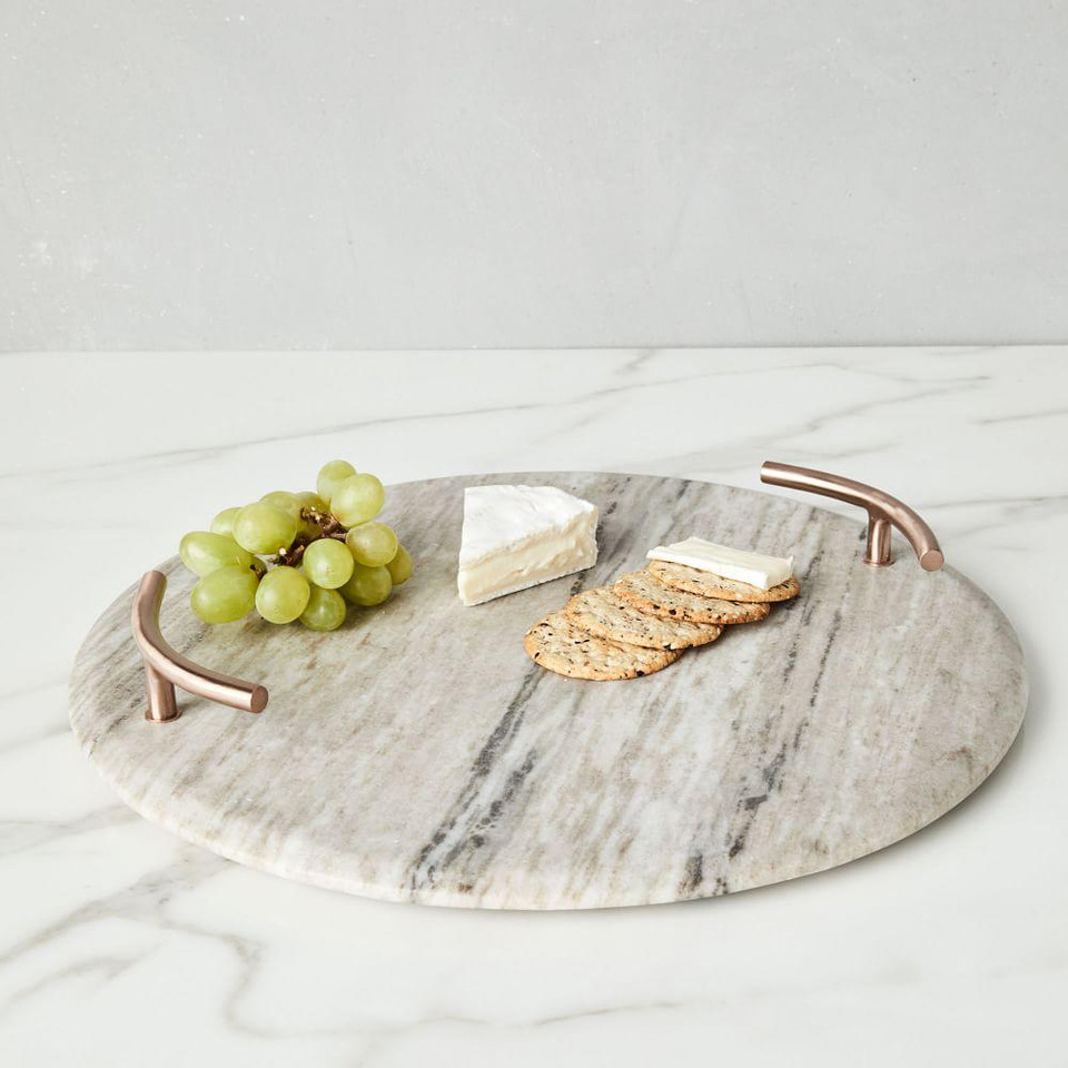 Marble & Copper Handled Cheese Board
