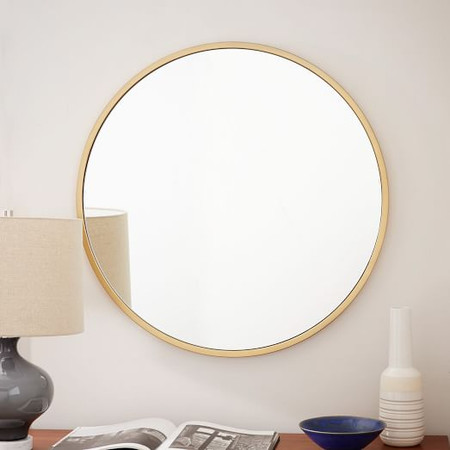 Metal Framed Round Wall Mirror