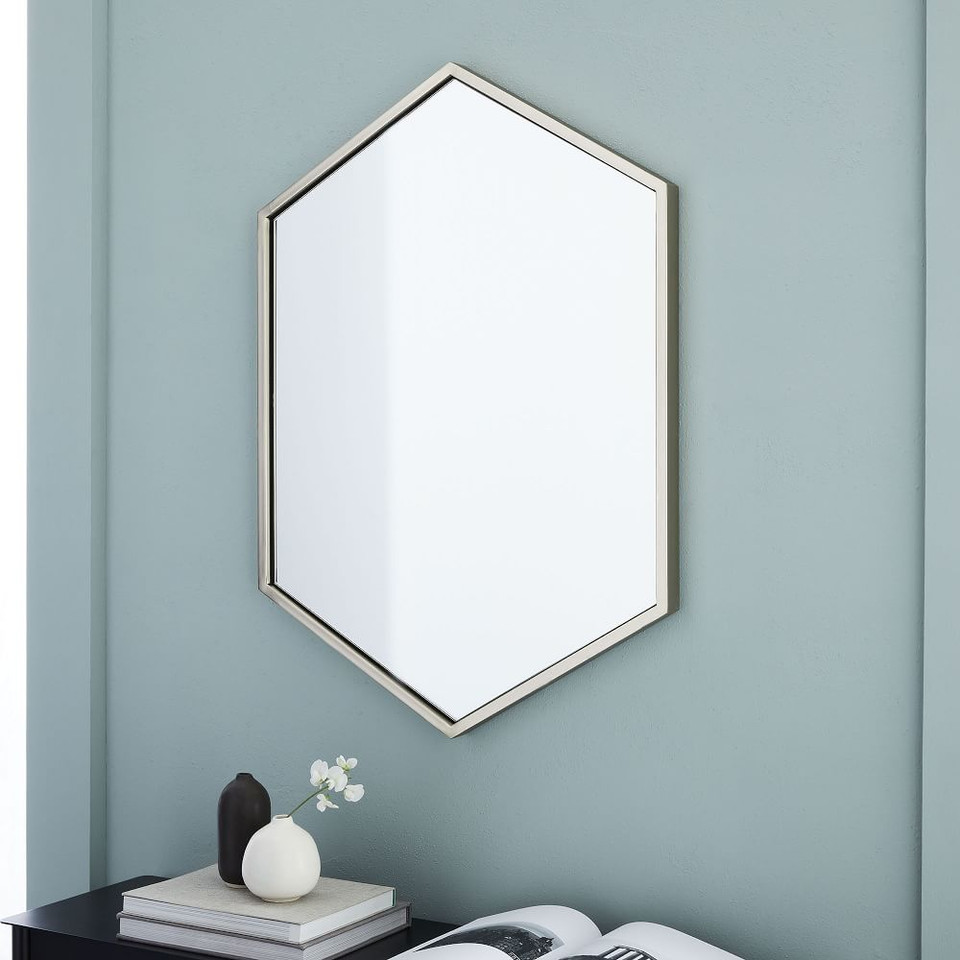 Metal Frame 86 cm Hexagon Mirror