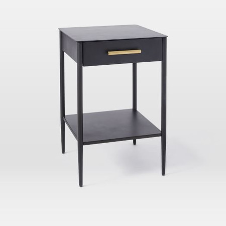 Metalwork Bedside Table with Handle - Hot-Rolled Steel Finish