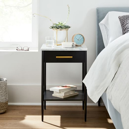 Metalwork Bedside Table With Marble Top - Hot-Rolled Steel Finish