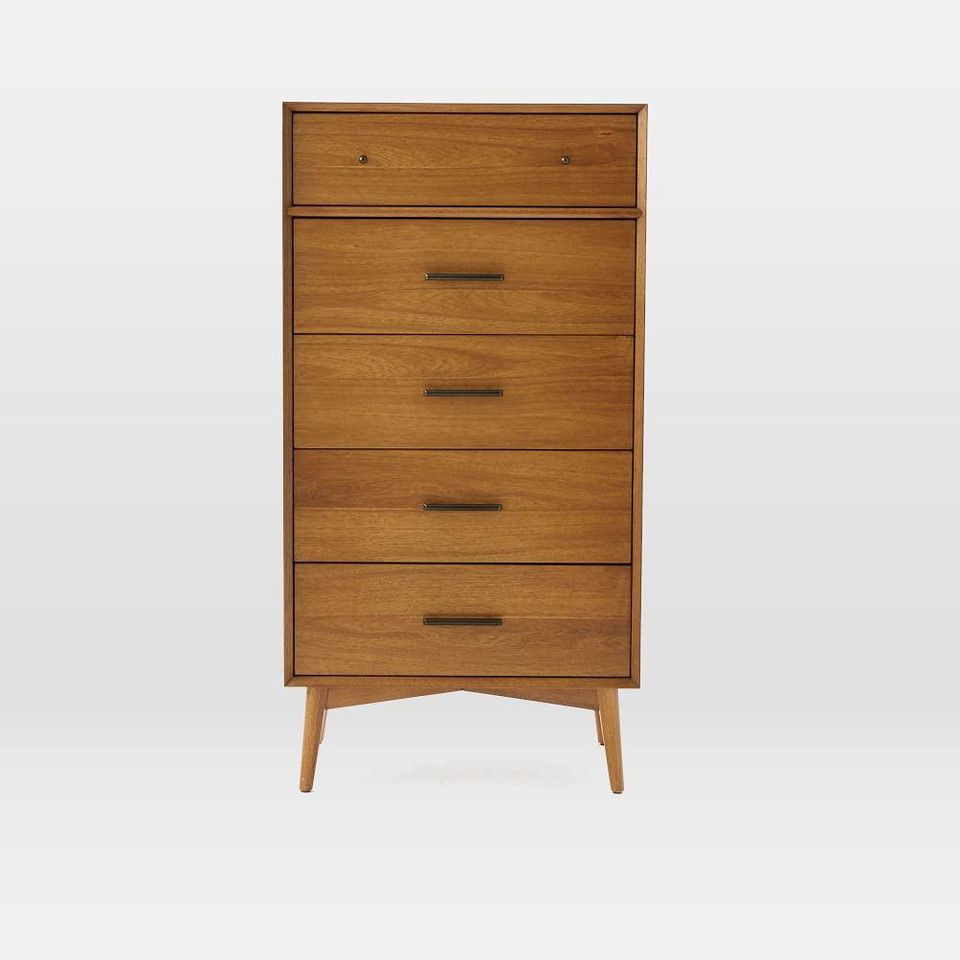 Mid-Century 5-Drawer Chest - Narrow