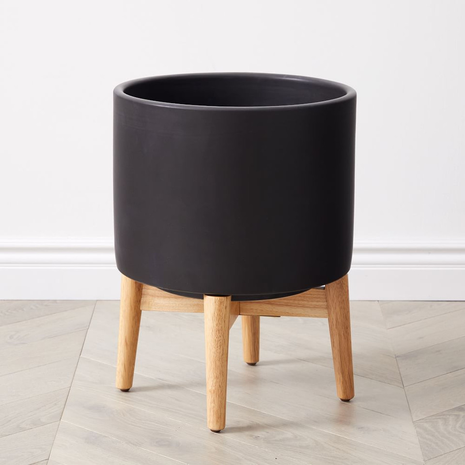 Mid-Century Turned Wood Leg Planters - Black