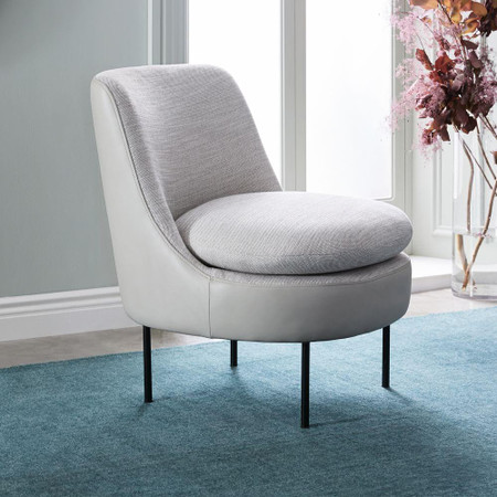 Modern Curved Leather Back Slipper Chair