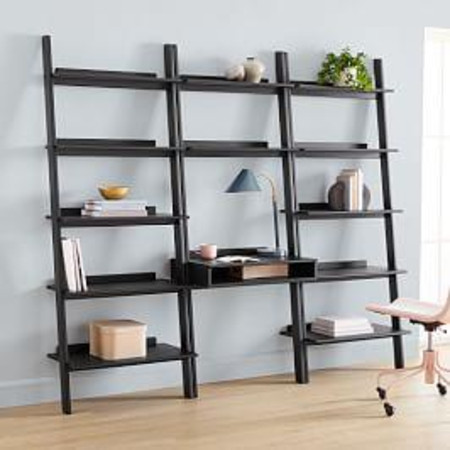 Modern Leaning Wall Desk + 2 Wide Bookshelves Set