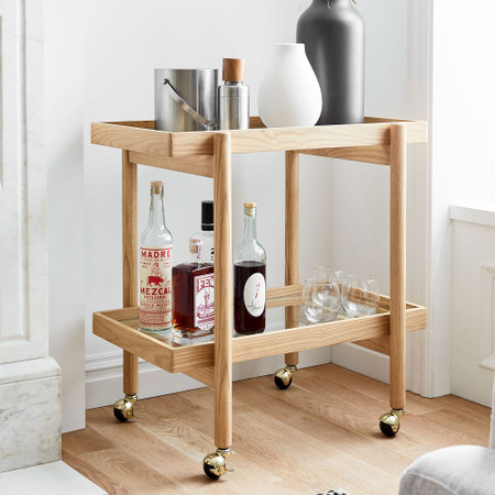 Modern Trestle Bar Cart