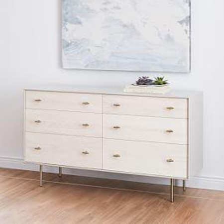 Modernist Wood & Lacquer 6-Drawer Chest, Winter Wood