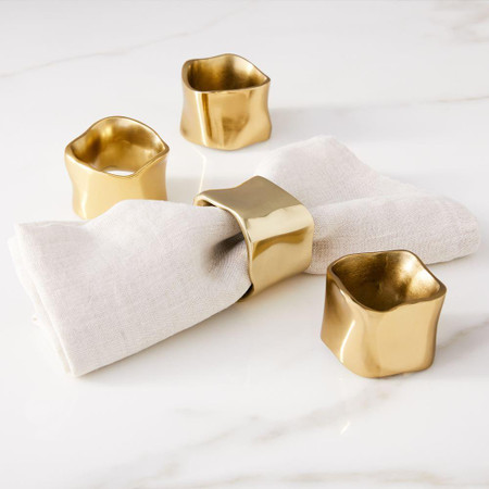 Molten Gold Napkin Rings (Set of 4)