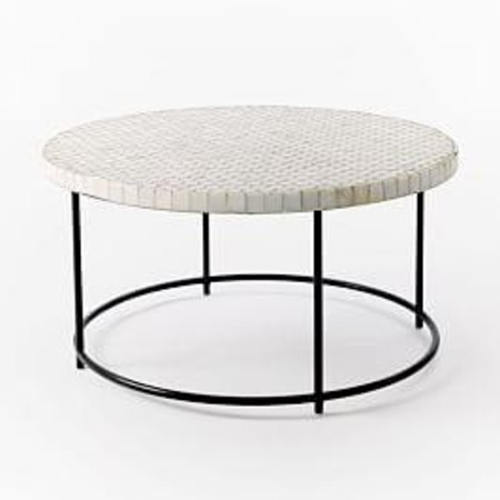Mosaic Tiled Garden Coffee Table - White Marble/Antique Bronze