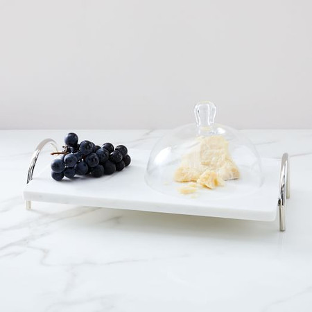Nickel + Marble Tray w/ Cloche