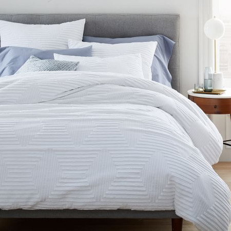 Organic Cotton Clipped Jacquard Diamond Duvet Cover & Pillowcases