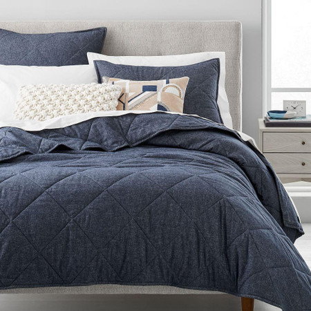 Organic Flannel Solid Bedspread & Pillowcases - Midnight