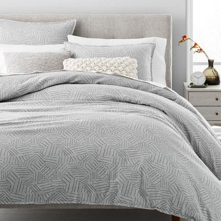 Organic Flannel Tossed Lines Duvet Cover + Pillowcases - Light Grey