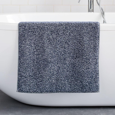Organic Heathered Bath Mat - Granite Blue