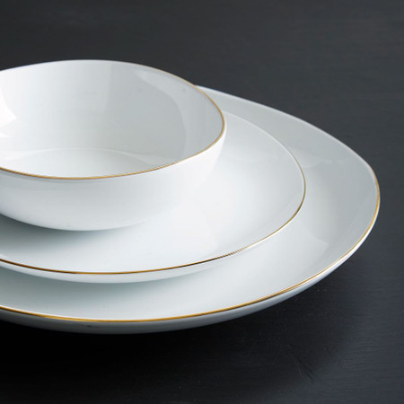 Organic Shaped Porcelain Dinnerware Gold Rimmed West Elm United Kingdom