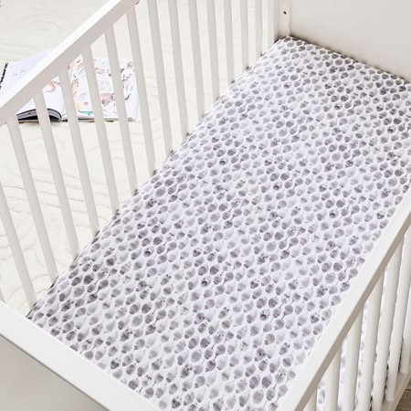 Organic Stamped Owl Cot Fitted Sheet