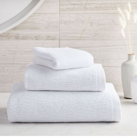 Organic Textured Towels - White