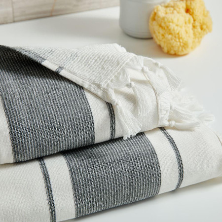 Organic Turkish Tassel Towels - Black + White