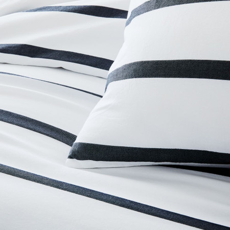 Organic Washed Cotton Percale Bold Stripe Duvet Cover & Pillowcases - Black/Stone White