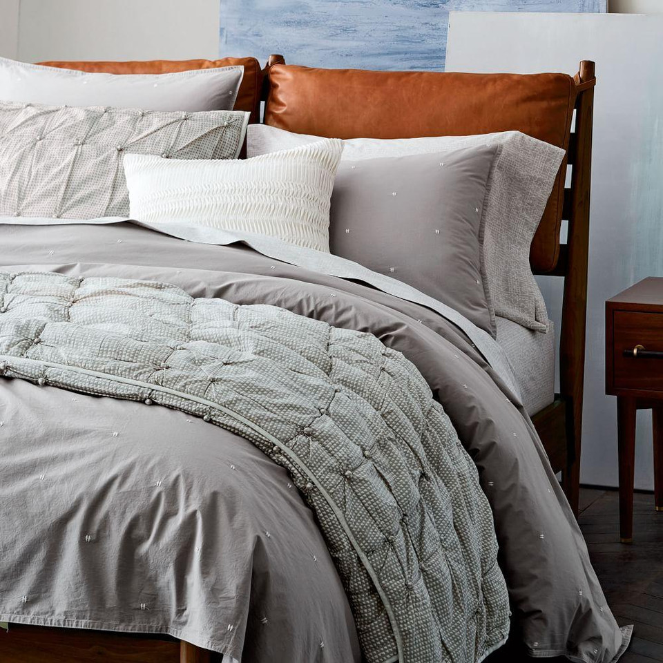 Organic Washed Cotton Duvet Cover & Pillowcases - Platinum
