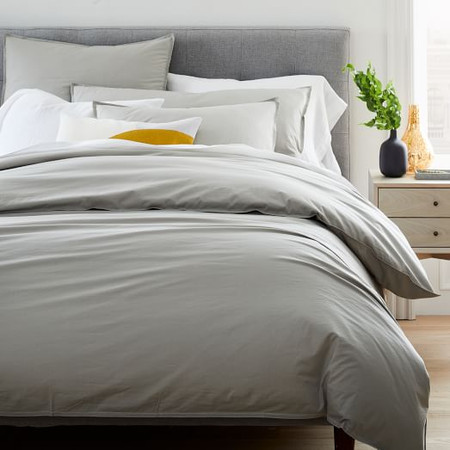 Organic Washed Cotton Percale Duvet Cover & Pillowcases - Platinum