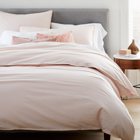 Organic Washed Cotton Percale Duvet Cover & Pillowcases - Pink Champagne