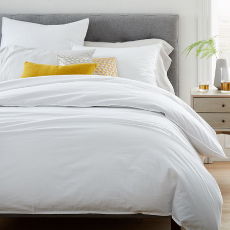 Organic Washed Cotton Percale Duvet Cover & Pillowcases - Stone White