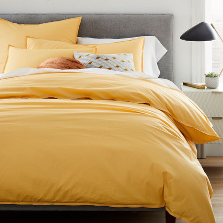 Organic Washed Cotton Percale Duvet Cover & Pillowcases - Sunbeam Yellow