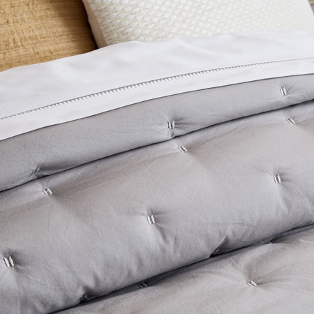 Organic Washed Cotton Percale Bedspread + Pillowcases - Platinum