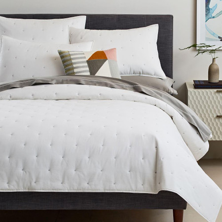 Organic Washed Cotton Percale Bedspread + Pillowcases - Stone White