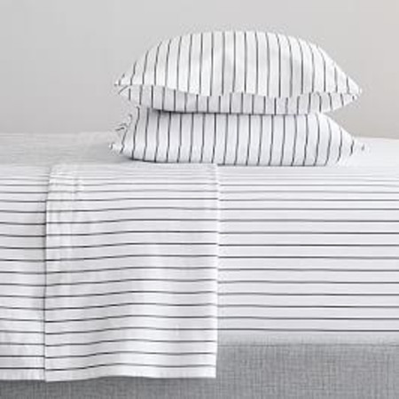 Organic Washed Cotton Percale Simple Stripe Sheets