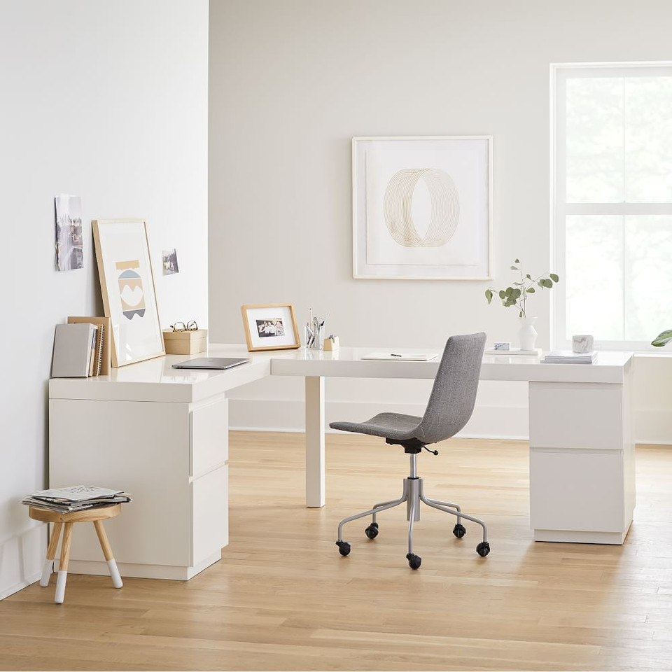 Parsons L-Shaped Desk & File Cabinet (2) Set