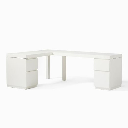 Parsons L-Shaped Desk & File Cabinet (2) Set