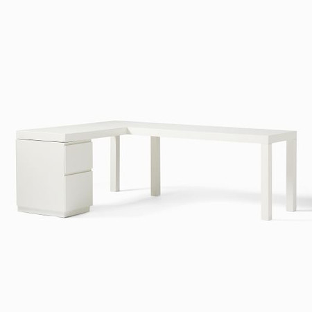Parsons L-Shaped Desk + File Cabinet Set