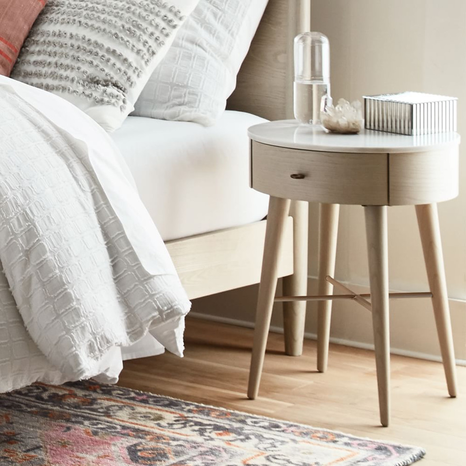 Penelope Bedside Table - Feather Grey w/ Marble Top