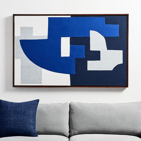 Pieced Fabric Wall Art - Blue