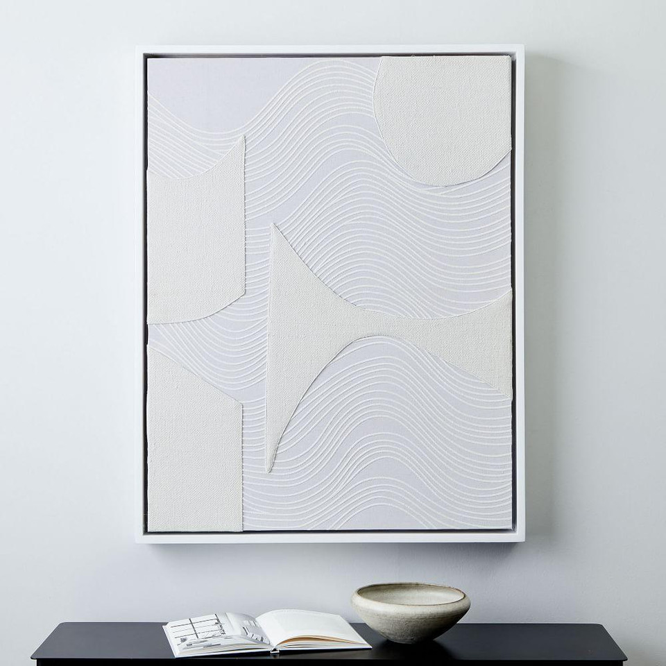 Pieced Fabric Wall Art - White