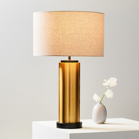 Pillar Table Lamp - Antique Brass