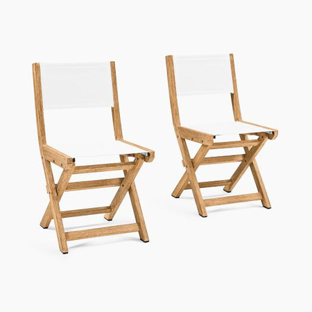 Portside Garden Textilene Folding Garden Bistro Chair, Set of 2 - Weathered Grey