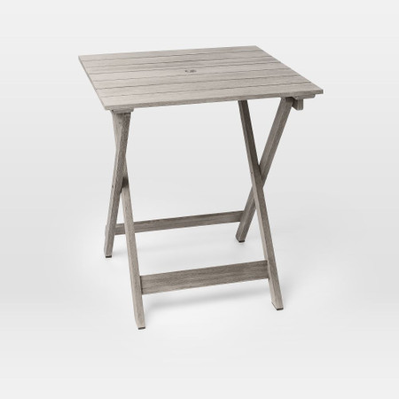 Portside Garden Folding Bistro Table - Weathered Grey