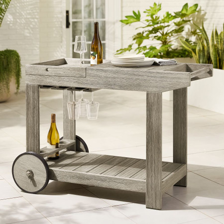 Portside Garden Bar Cart - Weathered Grey
